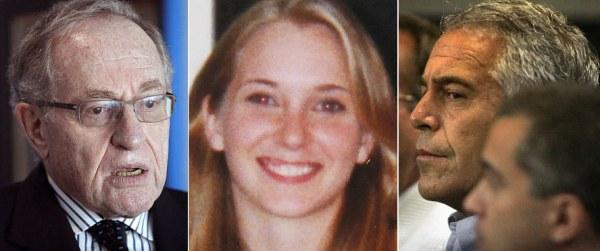 Zwei Juden, der Finanzier Jeffrey Epstein (rechts) und der prominente Rechtsanwalt und Zionist Alan Dershowitz flankieren das damals 17jährige Mädchen, das sagt, sie sei eine der vielen von ihnen beschäftigten Sex-Sklavinnen gewesen, von denen manche erst 12 Jahre alt waren.